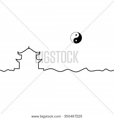 Taoism Temple And Yin Yang Symbol. One Line Drawing. Vector.
