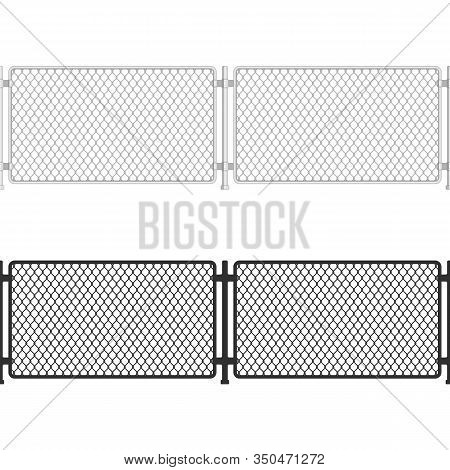 Seamless Chain Link Fence. Fences Made Of Metal Wire Mesh On White Background. Wired Fence Pattern I