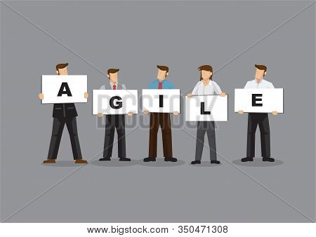 Illustration Of Business Man And Woman Holding White Board Cards Title Agile. Full Length On Grey Ba