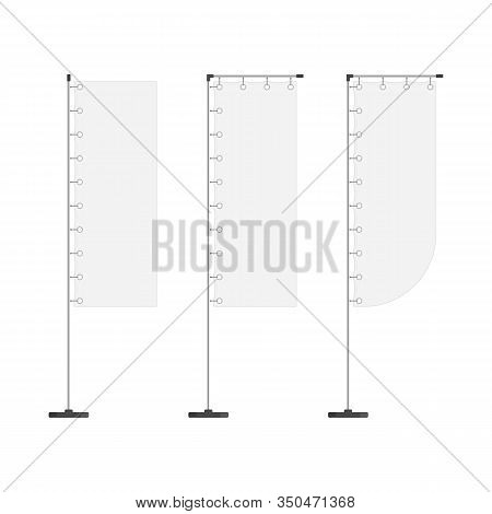 Blank Promotional Flags Isolated On White Background. Set Of Different Types White Waving Advertisem