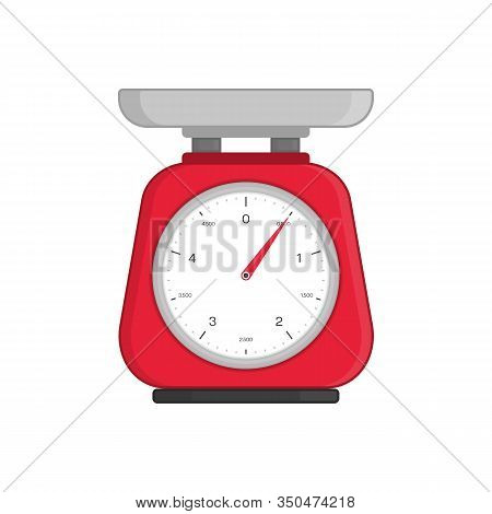 Domestic Weigh Scale Icon In Flat Style. Mechanical Ancient Scales For Products And Food. Weighing S