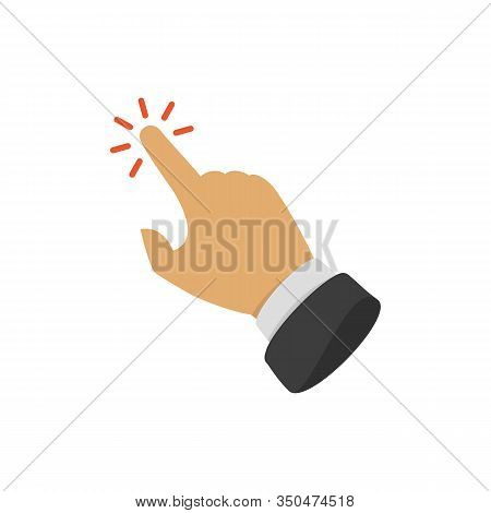 Click Here The Button. Hand With Touching A Buttons Or Pointing Finger. Hands Cursor Icon. Vector Il