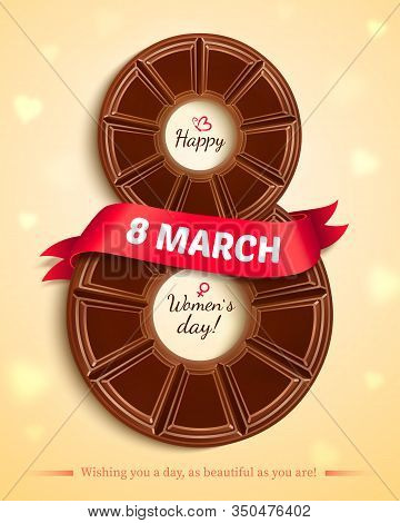 8 March, International Womens Day. Postcard To March 8. Eps10 Vector Illustration