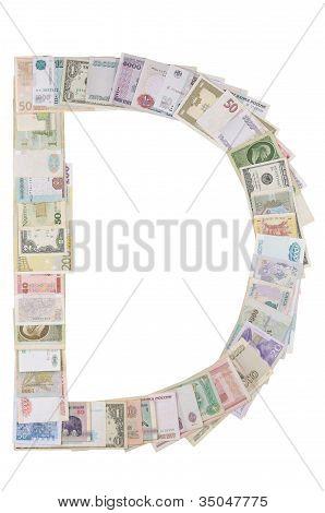 Letter D from money