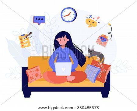 Woman Has Remote Office Home. Freelance Worker Concept. Student Learns Online On The Sofa. Writer Wo