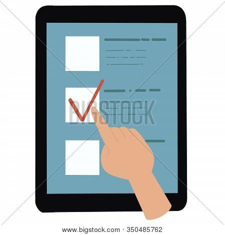 Online Vote And Elections Concept. Internet Surveying List Web Test Form. Mobile Questionnaire Custo