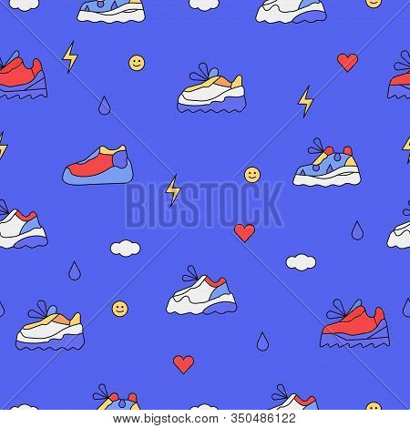 Seamless Pattern With Trendy Retro Sneakers, Dad Or Ugly Shoes On High Platform For Print, Texture D