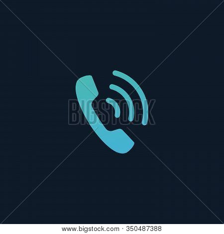 Phone Icon, Handset Icon With Waves. Telephone Symbol For Your Design, Logo, Ui. Stock Vector Illust