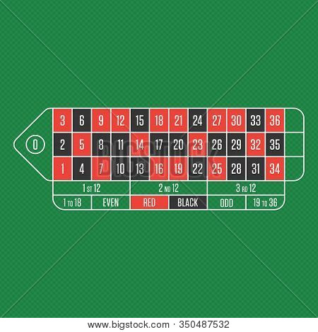 Casino Roulette Table With Numbers. Traditional European Roulette Table In Realistic Style. Gambling