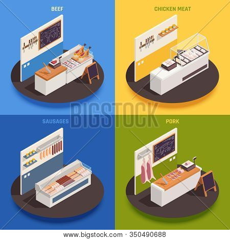 Butcher Concept 4 Isometric Square Compositions Set With Beef Chicken Meat Pork Counters Colorful Ba