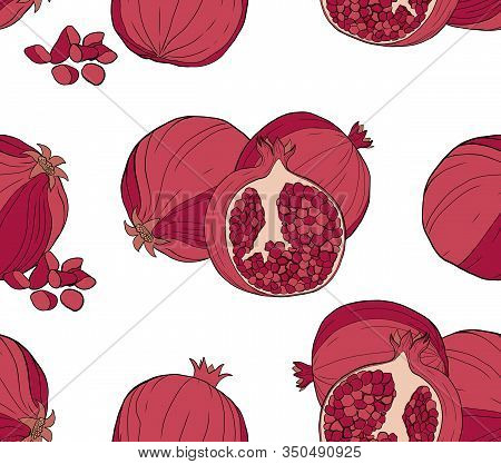 A Seamless Pattern Of Pomegranate Slices And Whole Fruits On A White Background. Design For Cosmetic