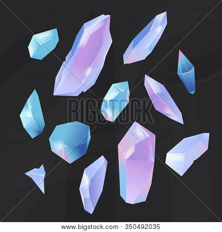 Set Of Crystals Opal Stones. Minerals, Gems, And Diamonds Of Different Forms On A Black Background.