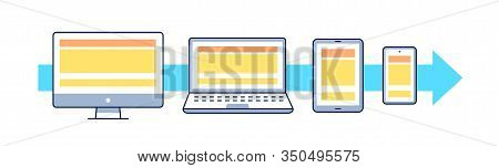 Adaptive Web Design Flat Vector Illustration. Outline Icons: Smartphone, Tablet, Laptop, Pc. Ui Ux G