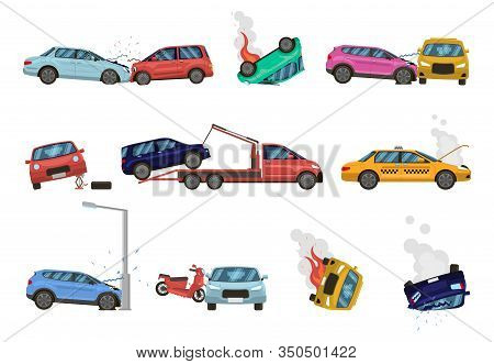 Vehicle Damage. Transport Crash And Dangerous Damage, Broken, Fractured Vehicles, Different Unpleasa