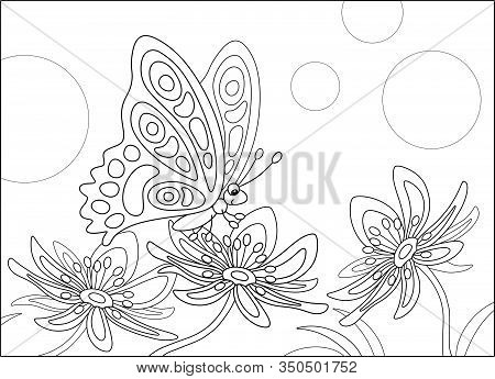 Ornate Butterfly Sitting On A Beautiful Flower In A Summer Garden, Black And White Vector Cartoon Il