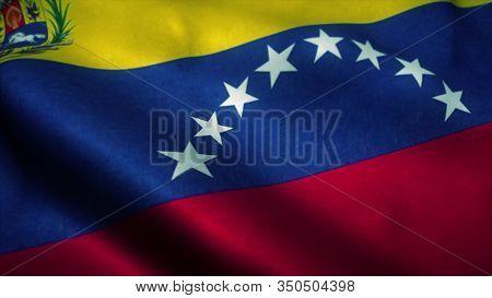 Venezuela Flag Waving In The Wind. National Flag Of Venezuela. Sign Of Venezuela. 3d Illustration.