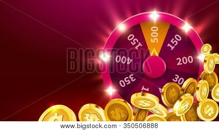 Wheel Of Luck Or Fortune With Falling Coins. Gamble Chance Leisure. Colorful Gambling Wheel. Jackpot