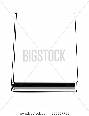 Closed Book - Linear Vector Illustration For Coloring. Cover Closed Book Copy Space. Outline. Linear