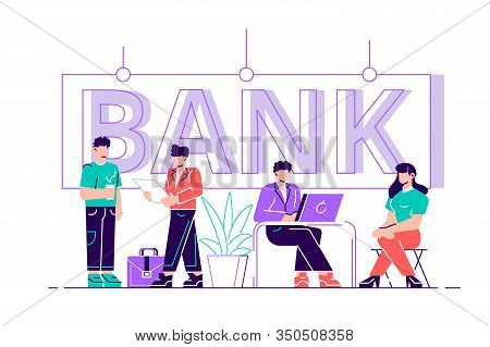 Online Bank Business Character Typography Banner. Safe Investment Deposit Meeting In Fin Tech Startu