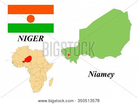 Republic Of Niger. Capital Of Niamey. Flag Of Niger. Map Of The Continent Of Africa With Country Bor