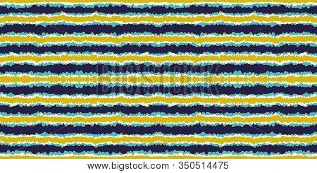 Cornflower Paint Line Vector Seamless Pattern. Cobalt Paper Line Mexican Texture. Bright Mexican Pat