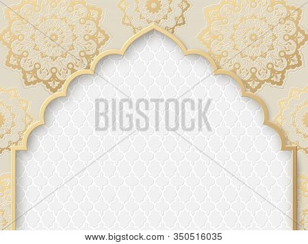 Vector Ornate Frame With Indian Or Arabesque Motif. Template For Indian, Arabic Wedding Invitations,