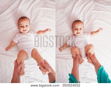 Gymnastic With Baby, Top View On The Bed