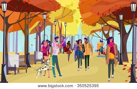 People Walking In Autumn City Park. Family, Couple, Fall Flat Vector Illustration. Leisure Outside,