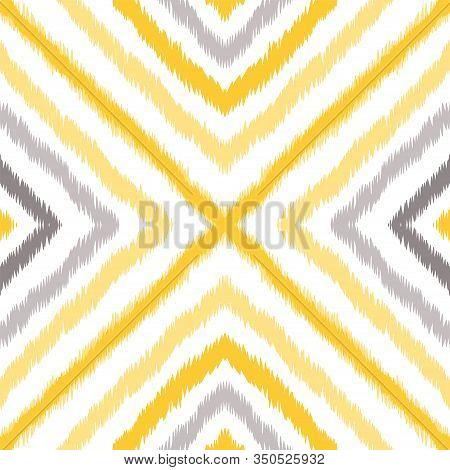 Yellow Batik Repeat Vector Seamless Pattern. Boho Carpet Texture. Navajo Geometric Tie Dye Design. G