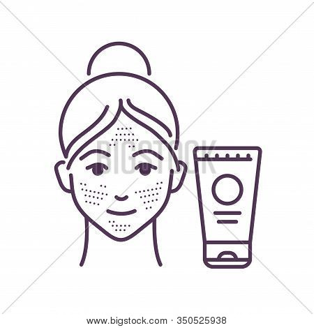 Facial Skin Scrubbing Black Line Icon. Young Female And Plastic Tube With Scrub. Skin Care. Spa, Cos