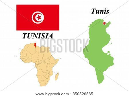Republic Of Tunisia. Capital Of Tunisia. Flag Of Tunisia. Map Of The Continent Of Africa With Countr