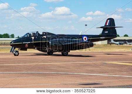Fairford / United Kingdom - July 11, 2018: Martin-baker Gloster Meteor G-jwma Aircraft Arrival And T