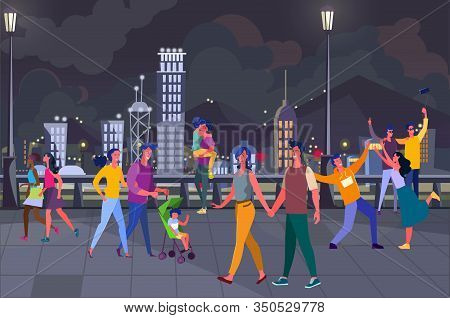 Young People Hanging Out On City Square. Couple Family With Kid, Night, Walking Tourists Flat Vector