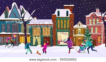 People Celebrating Christmas. Families With Kids Sledging, Playing Snowballs, Gifts Flat Vector Illu
