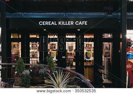 London, Uk - November 26, 2019: Facade Of Cereal Killer Cafe In Camden, London, In The Evening. Cere