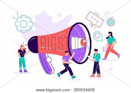 Public Relations And Affairs, Marketing Team Work With Huge Megaphone, Alert Advertising, Propaganda