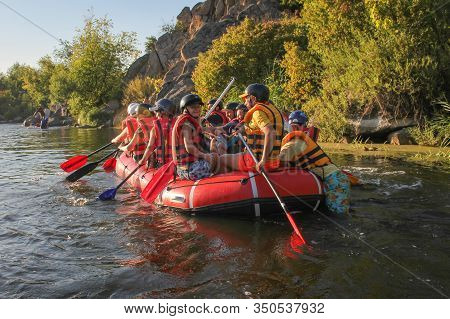 Sun Kosi Near Harkapur / Nepal - August 30, 2019: Young Person Rafting On The River, Extreme And Fun