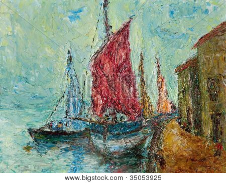 Seaport Painting