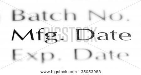Focus on MFG. Date