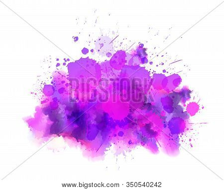 Multicolored Splash Watercolor Paint Blot - Template For Your Designs. Pink And Purple Colored