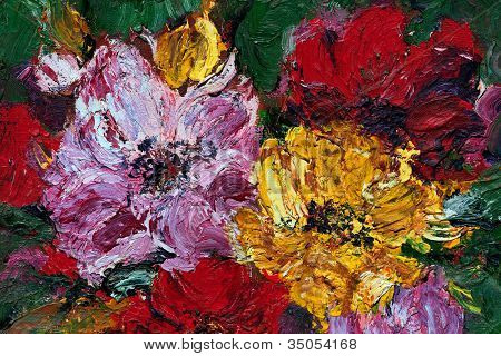 Abstract Oil & Pallet Knife Flowers