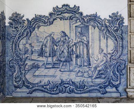Lisbon - August 28, 2019: One Of The Six Tile Panels Of The Covent Of Sao Pedro De Alcantara Atrium