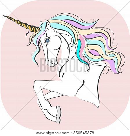 Unicorn With Magic Horn. Unicorn Vector Illustration. Magic Horse Isolated On Pink Background