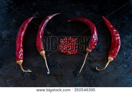 Healthy Nutritious Dry And Spicy Red Peepers And Spices For A Seasoning And Flavouring On Salad And