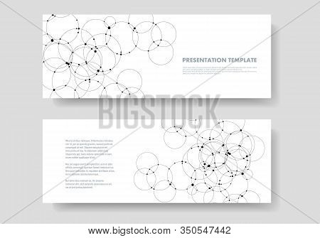 Abstract Vector Background With Connection Overlapping Circles And Dots. Science And Technology Conc
