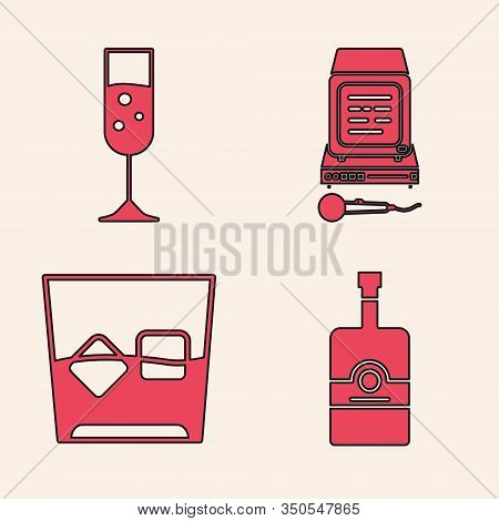 Set Whiskey Bottle , Glass Of Champagne , Karaoke And Glass Of Whiskey And Ice Cubes Icon. Vector