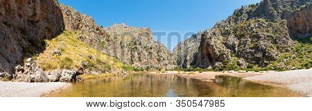 Picturesque Nature Of Sa Calobra, Majorca. Super-wide Panoramic Landscape Of Wild Nature. River Torr