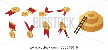 Gold Medals, Awards And Staircase Leading To The First Place On Pedestal Isometric Illustration. Vic