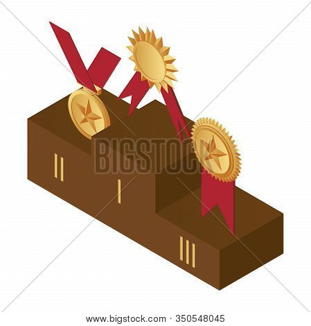 Golden Medals On The Podium, First, Second And Third Place Vector Illustration. Prizes For The Champ