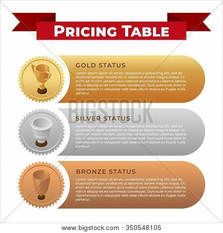 Pricing Table Banner Design Template. Gold, Silver And Bronze Cups Isometric Illustration With Text
